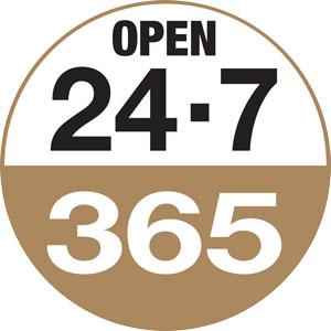 Open 24/7, 365
